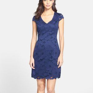 Lilly Pulitzer Blue Floral Lace Dixie Sheath Dress